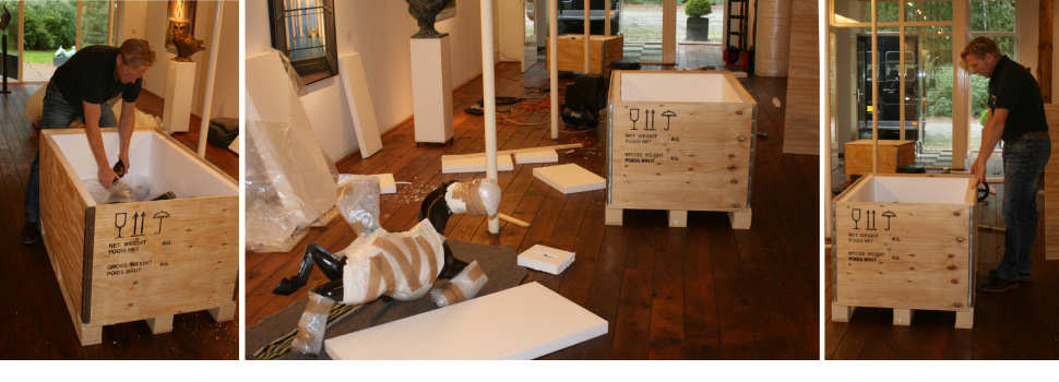 Worldwide delivery of paintings and sculptures by gallery Wildevuur in special crates for art transport.