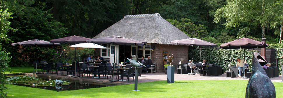 The terrace of the tearoom at gallery Wildevuur.