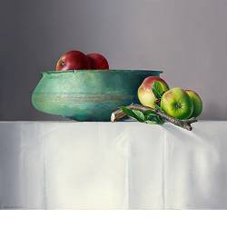 Appels met Romeinse schaal | stilleven schilderij van Adriana van Zoest koopt u nu online! ✓Hoogste kwaliteit ✓Veilig betalen ✓Gratis verzending