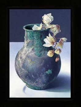 Orchidee in Romeins vaasje | stilleven schilderij in olieverf van Adriana van Zoest | Exclusieve kunst online te koop bij Galerie Wildevuur