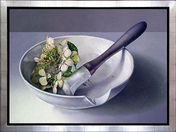 Vijzel met hortensia | schilderijen van een stilleven in olieverf van Adriana van Zoest | Exclusieve kunst online te koop bij Galerie Wildevuur
