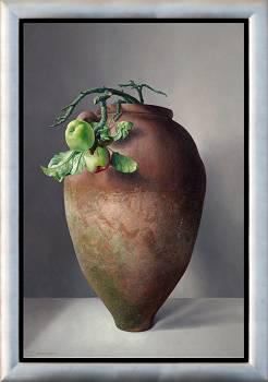Griekse kruik met wilde appels | stilleven schilderij in olieverf van Adriana van Zoest | Exclusieve kunst online te koop bij Galerie Wildevuur