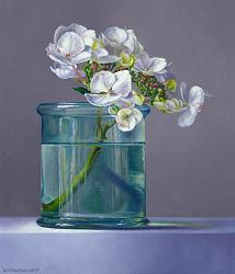 Hortensia in glas | stilleven schilderij in olieverf van Adriana van Zoest | Exclusieve kunst online te koop bij Galerie Wildevuur