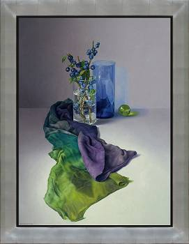 De sleedoorn | stilleven schilderij in olieverf van Adriana van Zoest | Exclusieve kunst online te koop bij Galerie Wildevuur