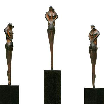Couple | bronzen beeld van een man en vrouw van Anton ter Braak | Exclusieve kunst online te koop in de webshop van Galerie Wildevuur