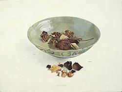 Schaal met rozen | stilleven schilderij in eitempera van Chris Herenius | Exclusieve kunst online te koop in de webshop van Galerie Wildevuur
