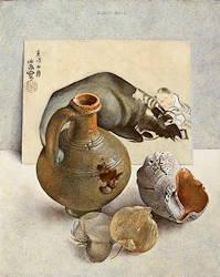 Stilleven met rustende os en herder | stilleven schilderij in eitempera van Chris Herenius | Exclusieve kunst online te koop bij Galerie Wildevuur