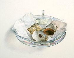 Schaal | stilleven schilderij in aquarel van Chris Herenius | Exclusieve kunst online te koop in de webshop van Galerie Wildevuur