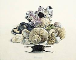 Maritiem stilleven met netsuke | stilleven schilderij in eitempera van Chris Herenius | Exclusieve kunst online te koop bij Galerie Wildevuur