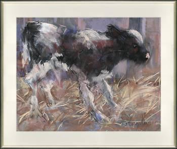 Staand kalfje | dieren schilderij in pastel van Corry Kooy | Exclusieve kunst online te koop in de webshop van Galerie Wildevuur