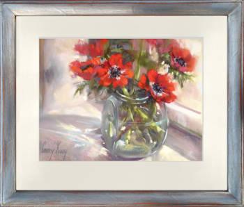 Anemonen | stilleven schilderij in pastel van Corry Kooy koopt u nu online!Hoogste kwaliteit & serviceVeilig betalenGratis verzending