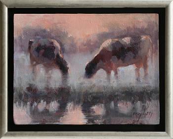 Koeien in de mist | dieren schilderij in olieverf van Corry Kooy koopt u nu online!Hoogste kwaliteit & serviceVeilig betalenGratis verzending