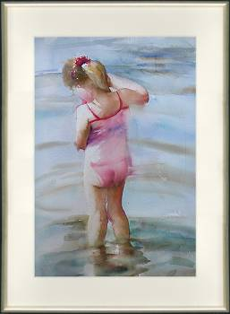 Meisje in het water | model schilderij in aquarel van Corry Kooy koopt u nu online! ✓Hoogste kwaliteit & service ✓Veilig betalen ✓Gratis verzending