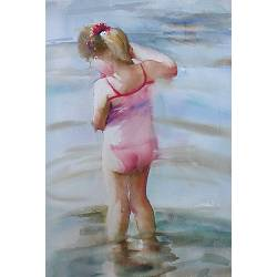 Girl in the water | model painting in watercolor by Corry Kooy | Exclusive Dutch Master Art | View and buy the best artworks online now