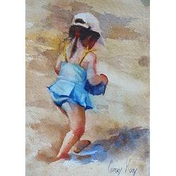Girl by the sea | model painting in watercolor by Corry Kooy | Exclusive Dutch Master Art | View and buy the best artworks online now