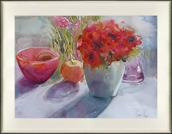 Stilleven in rood | stilleven schilderij in aquarel van Corry Kooy koopt u nu online! ✓Hoogste kwaliteit & service ✓Veilig betalen ✓Gratis verzending