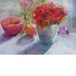 Stilleven in rood | stilleven schilderij in aquarel van Corry Kooy | Exclusieve kunst online te koop in de webshop van Galerie Wildevuur