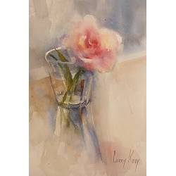 Rose in French glass | still-life painting in watercolor by Corry Kooy | Exclusive Dutch Master Art | View and buy the best artworks online now