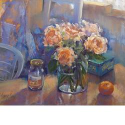 Roses in atelier | still-life painting in pastel by Corry Kooy now for sale online! ?Highest quality & service ?Safe payment ?Free shipping