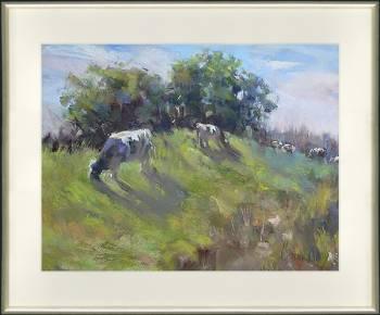 Koeien op de bol | dieren schilderij in pastel van Corry Kooy koopt u nu online! ✓Hoogste kwaliteit & service ✓Veilig betalen ✓Gratis verzending