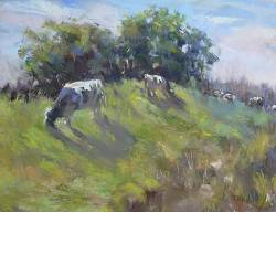 Cows on the head | animal painting in pastel by Corry Kooy now for sale online! ✓Highest quality & service ✓Safe payment ✓Free shipping