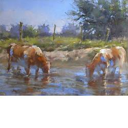 Red and white cows in the Lek | animal painting in pastel by Corry Kooy now for sale online! ✓Highest quality & service ✓Safe payment ✓Free shipping