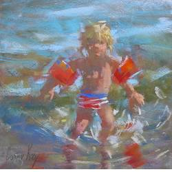 Little boy in the sea | model painting in pastel by Corry Kooy | Exclusive Dutch Master Art | View and buy the best artworks online now