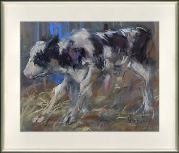 Kalf | dieren schilderij in pastel van Corry Kooy koopt u nu online! ✓Hoogste kwaliteit & service ✓Veilig betalen ✓Gratis verzending
