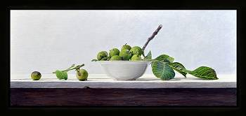 Walnoten met witte schaal | stilleven schilderij in olieverf van Dirk Bal | Exclusieve kunst online te koop in de webshop van Galerie Wildevuur