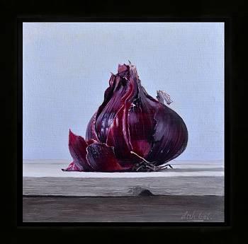 Rode ui | stilleven schilderij in olieverf van Dirk Bal | Exclusieve kunst online te koop in de webshop van Galerie Wildevuur