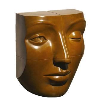 Blockhead bruin | bronzen model beeld van Erwin Meijer | Exclusieve kunst online te koop in de webshop van Galerie Wildevuur