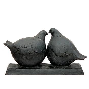 Love birds | bronzen dieren beeld van Evert van Hemert | Exclusieve kunst online te koop in de webshop van Galerie Wildevuur