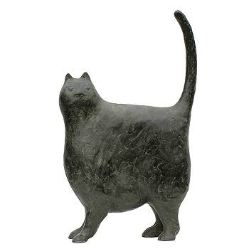 Huis, tuin en keukenkat | bronzen dieren beeld van Evert van Hemert | Exclusieve kunst online te koop in de webshop van Galerie Wildevuur