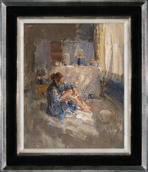 Hotel v/d Werff, In de lounge I | schilderij van een interieur in olieverf van Flip Gaasendam | Exclusieve kunst online te koop bij Galerie Wildevuur