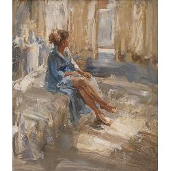 Afternoon light IV | model painting in oil by Flip Gaasendam now for sale online! ✓Highest quality & service ✓Safe payment ✓Free shipping