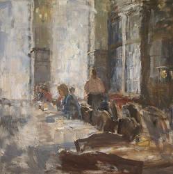 Hotel v/d Werff, In de lounge III | schilderij van een interieur in olieverf van Flip Gaasendam | Exclusieve kunst online te koop bij Galerie Wildevuur