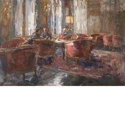 Hotel v/d Werff, Schittering | schilderij van een interieur in olieverf van Flip Gaasendam | Exclusieve kunst online te koop bij Galerie Wildevuur