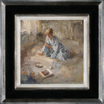 Hotel v/d Werff, In de gelagkamer | schilderij van een interieur in olieverf van Flip Gaasendam | Exclusieve kunst online te koop bij Galerie Wildevuur