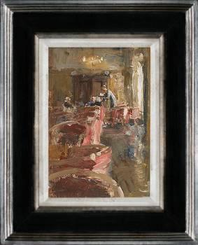 Hotel v/d Werff, In de lounge V | schilderij van een interieur in olieverf van Flip Gaasendam | Exclusieve kunst online te koop bij Galerie Wildevuur
