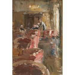 Hotel v/d Werff, In the lounge V | painting of a interior in oil by Flip Gaasendam | Exclusive Dutch Master Art | View and buy the best artworks online now