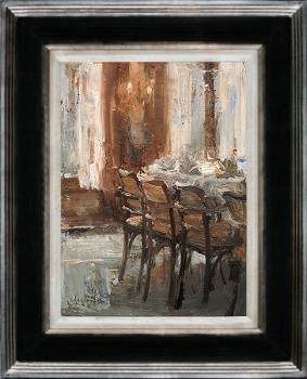 De eetzaal, Hotel v/d Werff | schilderij van een interieur in olieverf van Flip Gaasendam | Exclusieve kunst online te koop bij Galerie Wildevuur