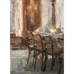 The dinning room, Hotel v/d Werff| painting of a interior in oil by Flip Gaasendam | Exclusive Dutch Master Art | View and buy the best artworks online now