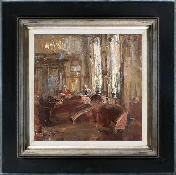 Voor het diner, Hotel v/d Werff | schilderij van een interieur in olieverf van Flip Gaasendam | Exclusieve kunst online te koop bij Galerie Wildevuur