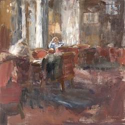 De bediening II, Hotel vd Werff | nostalgisch interieur schilderij in olieverf van Flip Gaasendam | Exclusieve kunst online te koop bij wildevuur.nl