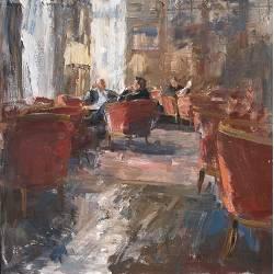 Lounge II | interieur schilderij in olieverf van Flip Gaasendam koopt u nu online!Hoogste kwaliteit & serviceVeilig betalenGratis verzending