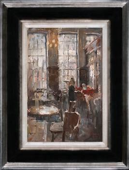 Grand Cafe De Drie Gezusters II | schilderij van een interieur in olieverf van Flip Gaasendam | Exclusieve kunst online te koop bij Galerie Wildevuur