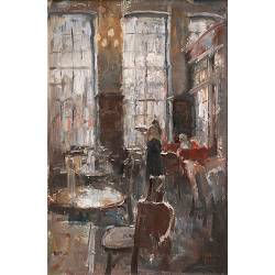 Grand Cafe The Three Sisters II| painting of a interior in oil by Flip Gaasendam | Exclusive Dutch Master Art | View and buy the best artworks online now
