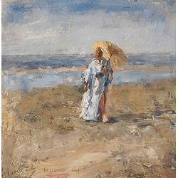 On the mudflats | painting of a model-people in oil by Flip Gaasendam | Exclusive Dutch Master Art | View and buy the best artworks online now