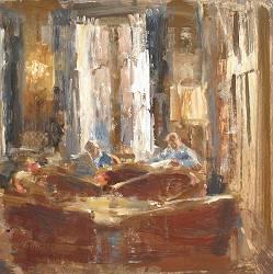 Hotel v/d Werff, In der Lounge V. | Innenraum Gemälde in Ölfarbe von Flip Gaasendam kaufen Sie jetzt online! ✓Sichere Zahlung ✓Kostenloser Versand