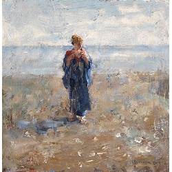 On the mudflats II | painting of a model-people in oil by Flip Gaasendam | Exclusive Dutch Master Art | View and buy the best artworks online now